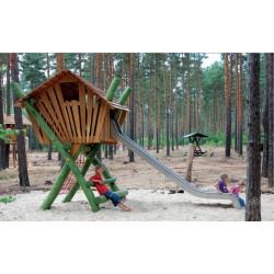 Stelzenhaus mit Rutsche - Robinienholz