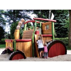 Tracteur en bois de robinier