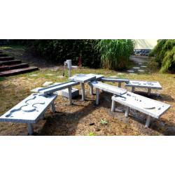 Installation de base pour jeux d'eau et margouillis en granit