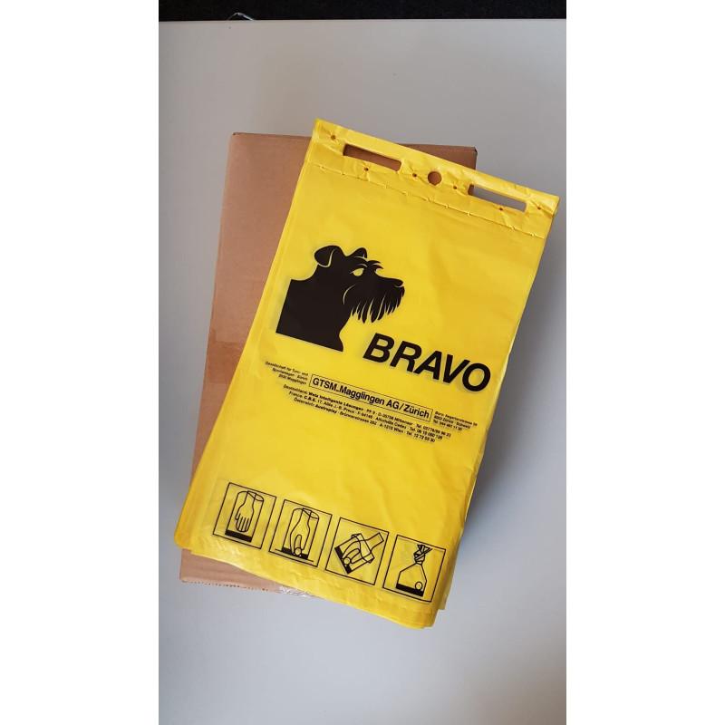 BRAVO sachets ramasse crottes en bloc, jaune
