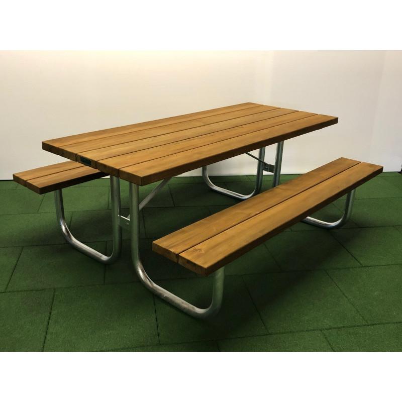 Picknick Holz-Metall-Tanne - Bank/Tisch-Kombination