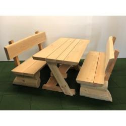 Ensemble table-siège en bois - monté