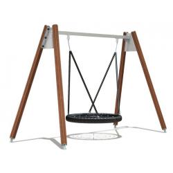 Balançoire avec nacelle - portique - engin pour aire de jeux naturelle