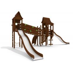 La greifenwald - installation pour place de jeux naturelle - tour avec toboggan