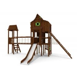 La forêt d'ours - installation pour place de jeux naturelle - tour avec toboggan