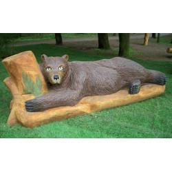 """Sculpture de jeu """"l'ours couché"""" - chêne massif SIK"""