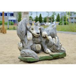 """Sculpture de jeu """"les louveteaux"""" - en robinier SIK"""