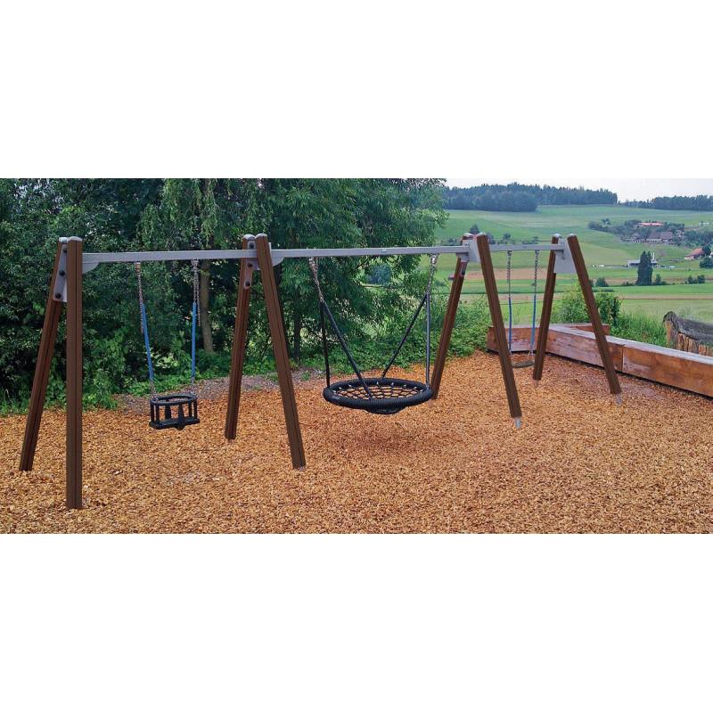 Bockschaukel Holz mit Nest plus 2