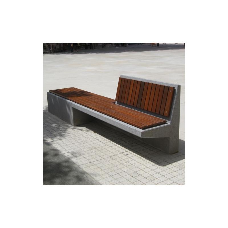 Equal -Betonbank mit Holz