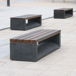 U-Shape - Hockerbank aus Beton und Holz
