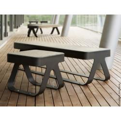 Link - banquette en acier et béton/bambou