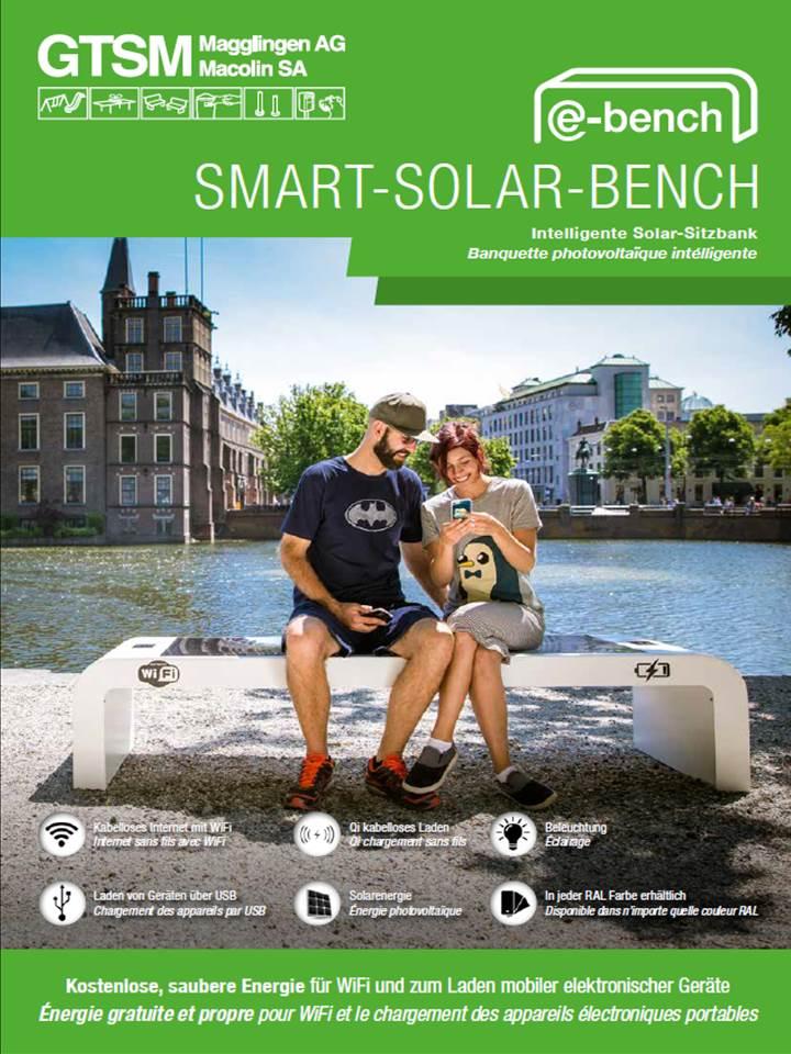 Die smarte GTSM e-bench Solarbank mit solarer Photovoltaik für saubere Energie aus der Sonne mit USB oder kabelloser QI-Auflademöglichkeit für Handy und Tablets, Beleuchtung und WLAN/WiFi-Möglichkeit mit 4G