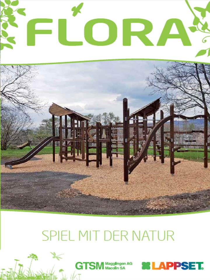 Flora Natur-Spielplatz mit Kinder - Spielplatzgeräten aus Holz (1,3MB)